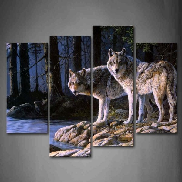 Wolf Wall Art Print Canvas Animal Painting Wood