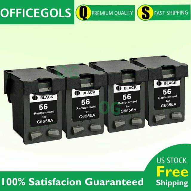 4-Pack 56 Black Ink for HP PSC 2410 2510 2210 2175 2110 1350 1315 Printer | eBay