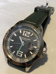 Stuhrling Original Men's Swiss Quartz Green Watch Krysterna Sapphire Silicone | eBay
