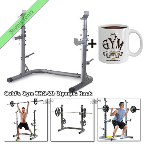 gold gym xrs 20 olympic workout squat rack weight lifting bench stand with mug benches sporting goods