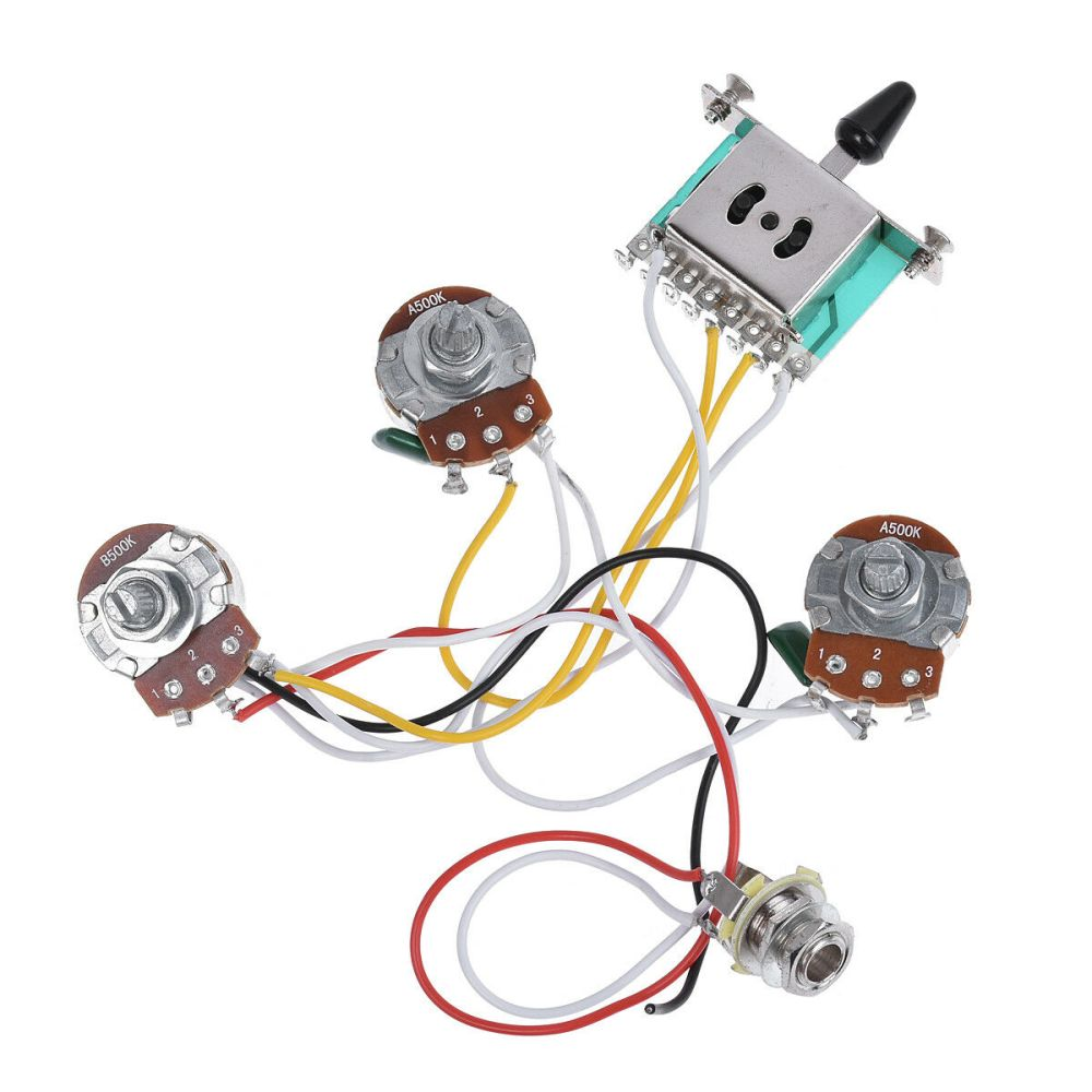 medium resolution of electric guitar wiring harness prewired kit for strat parts 5 way 500k pots 2t1v