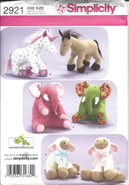 Stuffed Horse Pattern : stuffed, horse, pattern, Unicorn, Plush, Pattern, Elephant, Sheep, Horse, Stuffed, Uncut, Simplicity, Online