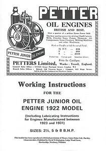 Petter Junior Stationary Oil Engine Instruction Manual