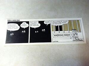 PEEK A BOO ZOO original comic strip art, 1960's, BUFFALO BILL BISON HIDING!!