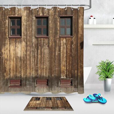 bathroom shower curtain set waterproof fabric w 12 hooks rustic barn wood wall ebay