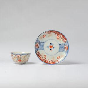 18C Japanese Porcelain Flower Tea Cup Bowl & Saucer Saucer Imari Edo Period