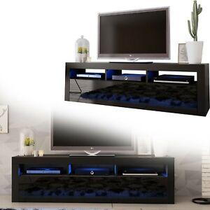 details sur tv board lowboard bas credence noir brillant 160 cm afficher le titre d origine