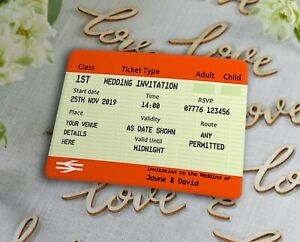 Details About Train Ticket Wedding Invitations Custom Design Pack Of 20 Free Uk Shipping