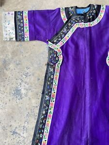 Antique Chinese Manchu Embroidered Silk Robe Purple Dragons