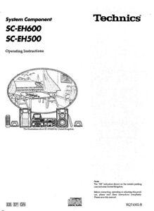 Technics SC-EH500 SH-EH500 SA-DH500 SL-EH500 RS-EH600