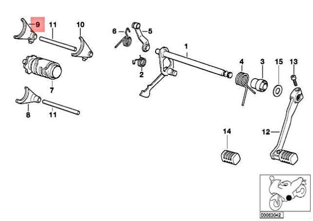Genuine BMW E16 K14 K15 R13 F 650 94 0161 Shifting Fork