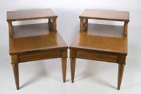 Pair Of Matching 2-Tier Vintage End Or Lamp Tables Walnut ...