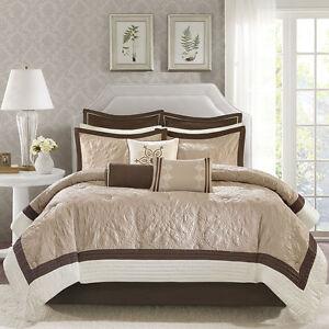 ivory and beige bedroom BEAUTIFUL MODERN ELEGANT BROWN BEIGE TAUPE IVORY COMFORTER SET KING OR QUEEN