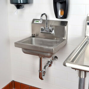 details about 17 x 15 hand wash sink w faucet commercial stainless steel wall mount kit
