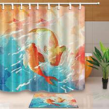 koi carps and lotus shower curtain