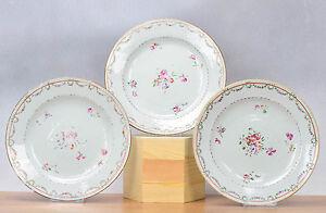 Lovely Set! 18th c Qianlong Famille Rose Chine de Commande Plate Flowers Qing