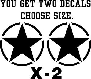 US Military Star Car/Jeep Vinyl Sticker/Decal. Various