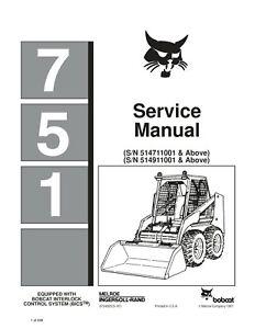 New Bobcat 751 Skid Steer Repair Service Manual 6724925 CD