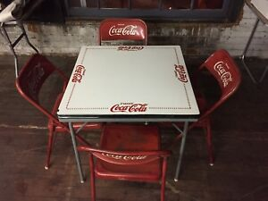 coca cola chairs and tables eames style office chair rare table with 4 vintage mexico tome coke image is loading