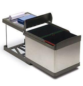 Pattumiera per cucina INOX carrello estraibile 2 secchi sottolavello automatica  eBay