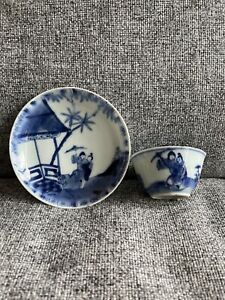 A Rare Set of Chinese 17/18thC Blue and White Figural Pattern Cup and Saucer 02