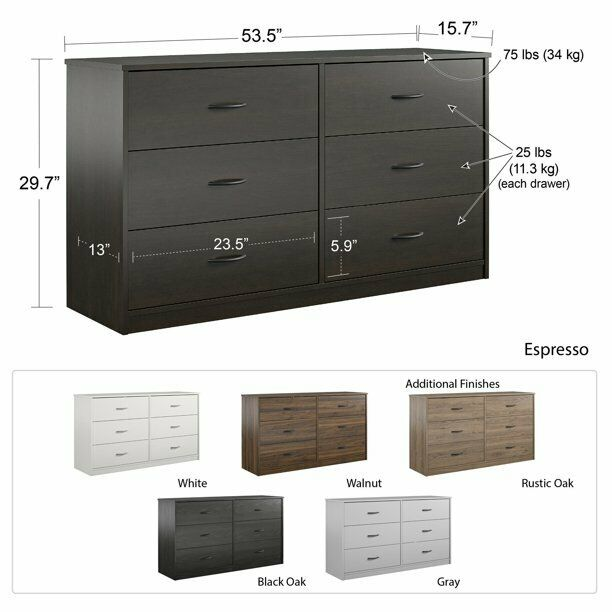 6 Drawer Dresser Modern Set Organizer Bedroom Clothes Furniture Finishes Chest For Sale Online Ebay