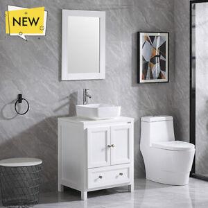 details about 24 inch single sink bathroom vanity set w ceramic vessel sink mirror faucet