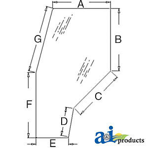 John Deere Parts GLASS (LH/RH) DOOR R141527 5510,5500,5410