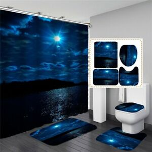 details about psychedelic moonlight at sea bathroom sets shower curtain bath mats toilet rugs