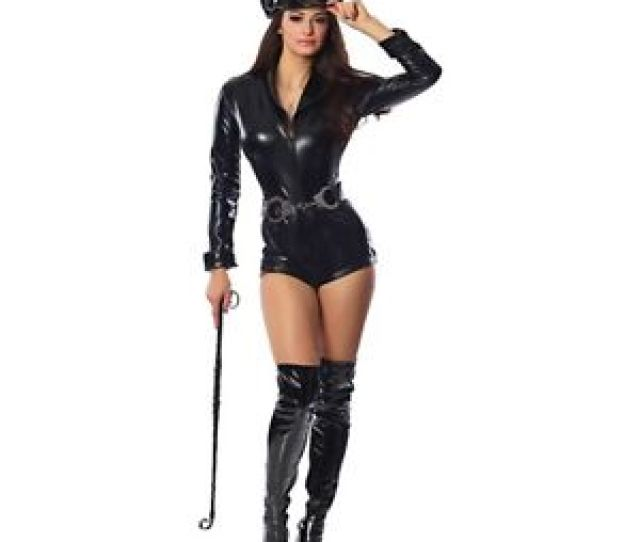 Sexy Cop Costume Adult Police Officer Dominatrix Outfit Halloween