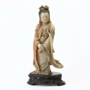 Antique Chinese Shoushan Stone Carved Guanyin Statue with Wood Stand