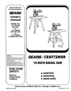 Craftsman 113.196120 113.196320 113.196420 Radial Saw