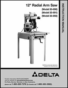 Delta Radial Arm Saw Instruction Manual# 33-890 , 33-891