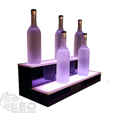 28 led bar shelf two step liquor bottle shelves bottle display shelving rack 852660502550 ebay