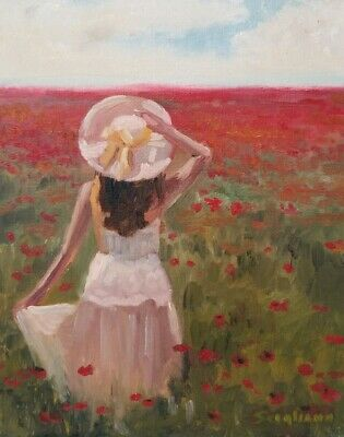 Woman In Field Painting : woman, field, painting, Woman, Poppy, Field, Painting, Country, Impressionism, MIRIAM, SCIGLIANO