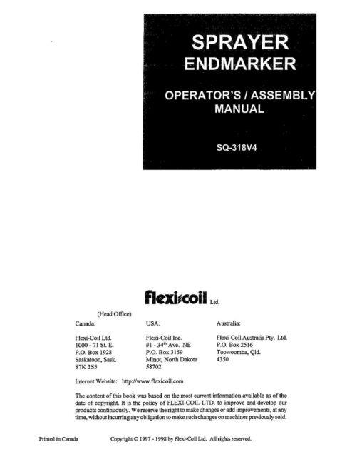 NEW HOLLAND Field Sprayer Hydraulic End Marker OPERATORS