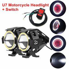Headlight Switch Motorcycle 1989 Gm Radio Wiring Diagram 2x Cree U7 White Halo Angel Devil Eye Led