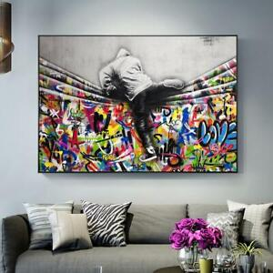 details about graffiti art behind the curtain street art canvas painting posters and print new