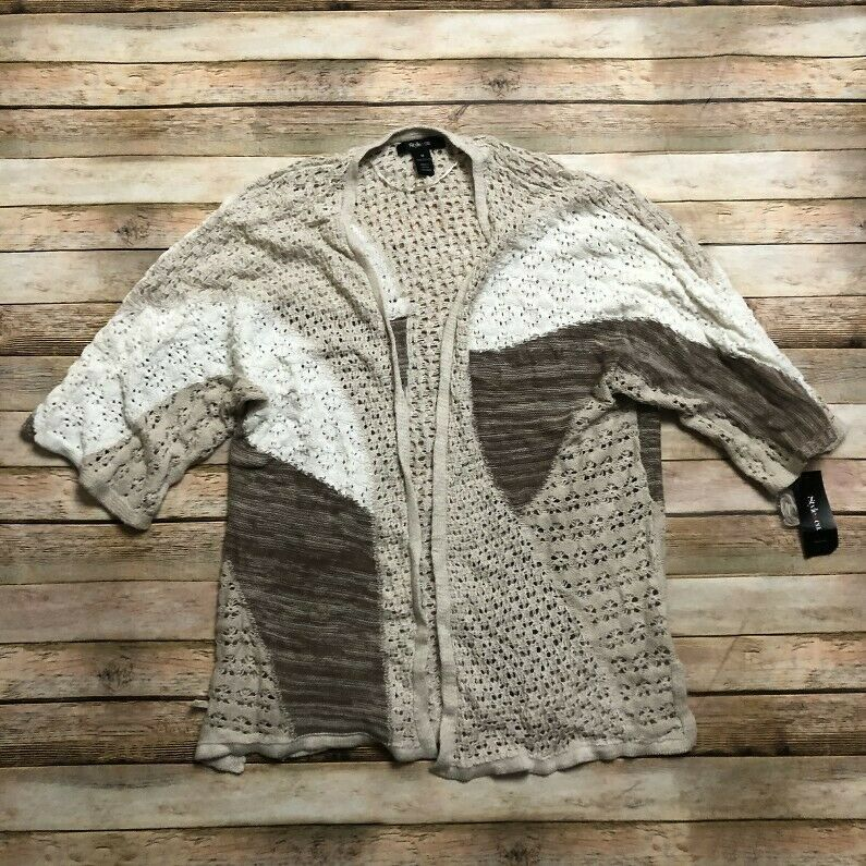 Style CO Womens Crochet Knit Patchwork Cardigan Tan White M Open