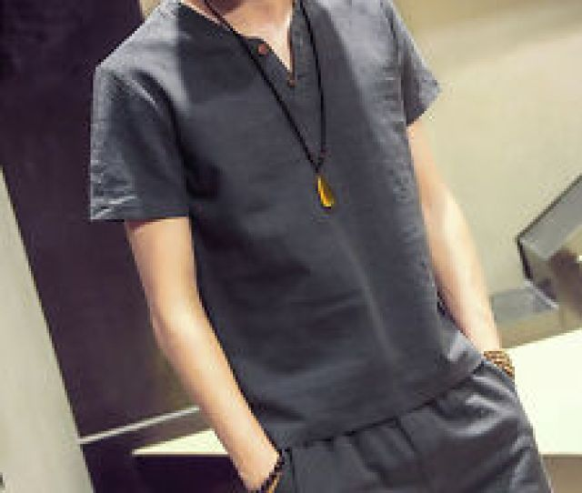 Item  Mens Flax Linen T Shirt Casual V Neck Short Sleeve Shirt Top Tee Breathable Mens Flax Linen T Shirt Casual V Neck Short Sleeve Shirt Top Tee