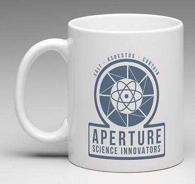 aperture science innovators portal 2 1950s logo halbwertszeit kaffee getrank becher ebay