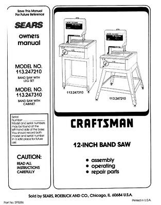 Craftsman 113.247210 113.247310 Band Saw Owners