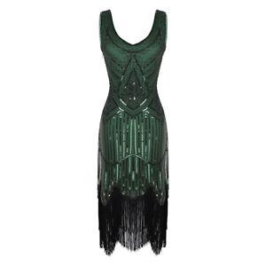 Women Flapper Dress Roaring 20s Gatsby Costume Fringed ...