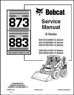 Bobcat 873 / 883 Turbo Skid Steer Loader Service Manual on