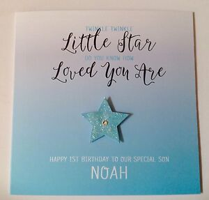 Personalised Ombre Star 1st Birthday Card Son Grandson