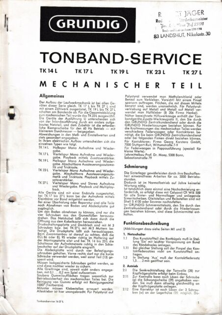 Service Manual for Grundig TK 473.4oz,TK 574.8oz, 642.5oz