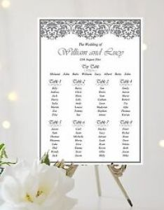 Image is loading lace effect wedding table plan seating sign also chart white ivory rh ebay