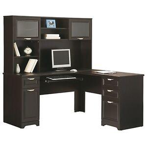 Contemporary LShape Computer Desk  Hutch  Espresso 30H