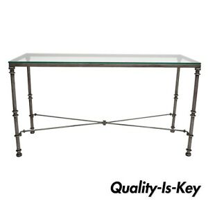 pier 1 sofa quality sectional chaise cover medici collection pewter iron console hall table with image is loading