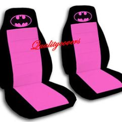 Batman Car Chair Rentals Tables And Chairs Seat Covers In Hot Pink Black Velour Front Set Ebay Image Is Loading Amp